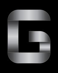 rectangular bent metal font, letter G