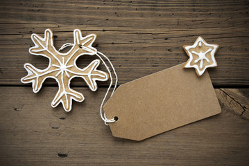 Banner with Copy Space and Ginger Bread Snowflake