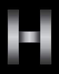 rectangular bent metal font, letter H