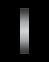 rectangular bent metal font, letter I