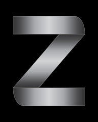 rectangular bent metal font, letter Z