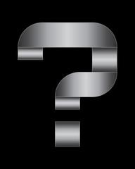 rectangular bent metal font, question mark