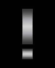 rectangular bent metal font, exclamation mark