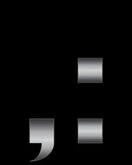rectangular bent metal font, comma and 2 dots