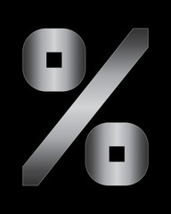 rectangular bent metal font, percentage sign
