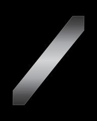 rectangular bent metal font, slash sign