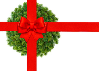 red ribbon bow with christmas wreath isolated on white