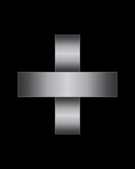 rectangular bent metal font, plus sign