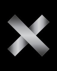 rectangular bent metal font, multiplication sign