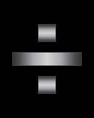 rectangular bent metal font, division sign