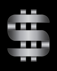 rectangular bent metal font, dollar currency symbol