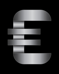 rectangular bent metal font, euro currency symbol