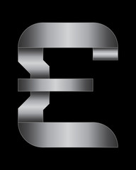 rectangular bent metal font, pound currency symbol