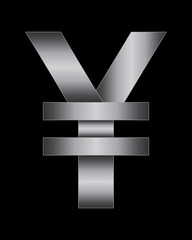 rectangular bent metal font, yen and yuan currency symbol