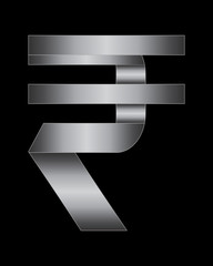 rectangular bent metal font, rupee currency symbol