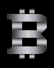 rectangular bent metal font, bitcoin currency symbol