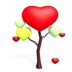 Love tree with hearts isolated on white