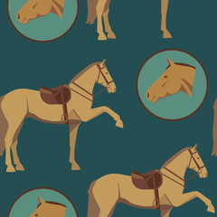 seamless pattern of horse and gear 2