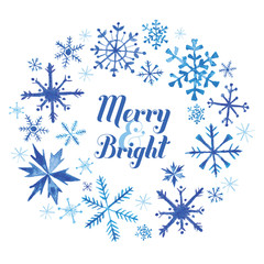 Winter Christmas Card - Snowflakes in Watercolor - in vector