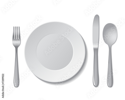Plate and cutlery - 72891122