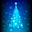 Christmas tree of blue light for new year card, background