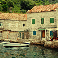 Old mediterranean houses and pier(Montenegro)