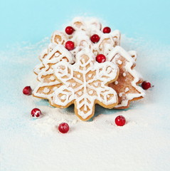 Christmas Cookies with Berries in Flour