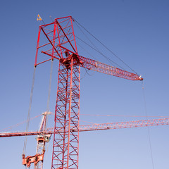 Tower cranes on construction site USA