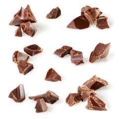 Chocolate pieces isolated on white. Collection