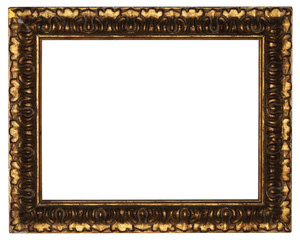 classic old wooden picture frame carved by hand on white backgro