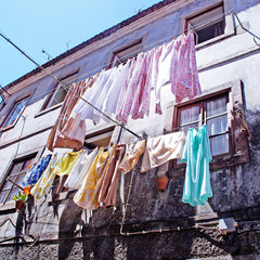 The linen is dried in old portugal town