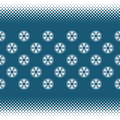 Seamless background with halftone stripes and snowflakes