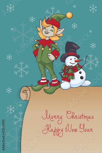background celebration christmas design elf gift hat holiday illustration postcard present santa season snow snowman symbol vector winter xmas year