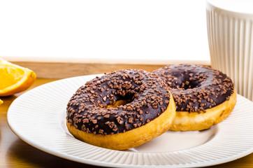 Breakfast tray donut orange and milk