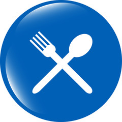 web buttons food icon: spoon and fork restaurant banner