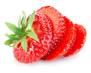Strawberry slices isolated on white