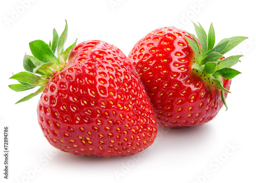 Two strawberries close up on white background - 72894786