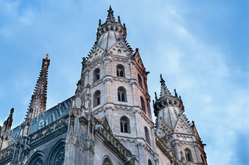 The facade of the St. Stephen's Cathedral in Vienna at the sunse