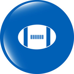 Football ball icon web button isolated on white background