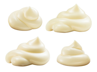 Handful of mayonnaise. Swirl on white background. Collection. Cl