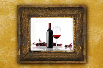 wine bottle glass red grapes on old picture frame