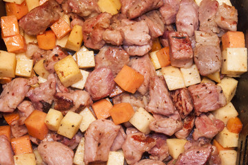 Meat, carrot and swede dice