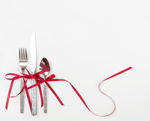 Holiday Flatware with Red Ribbons