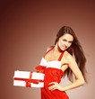 Beautiful  woman wearing santa clause costume