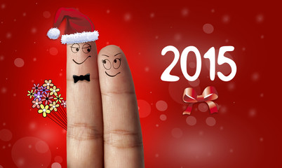couple of fingers in love for the new year 2015