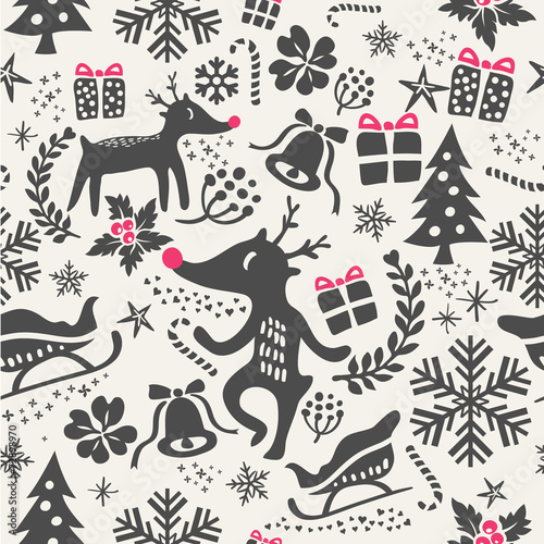 Cotton fabric christmas background seamless pattern