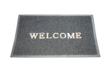 welcome grey mat isolated on white background