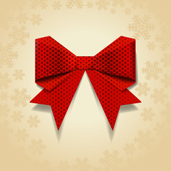 Red bow with dot pattern