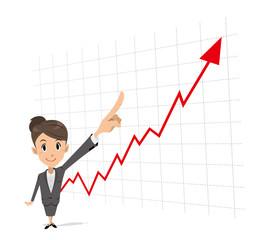 ビジネスマンウーマン 指差し グラフ