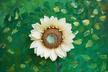 light yellow artificial sunflower on green wall